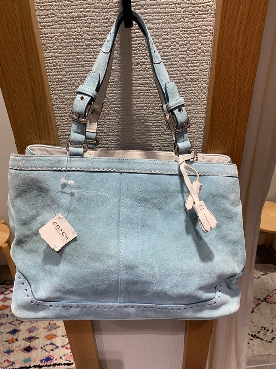 Baby Blue Suede Coach Bag