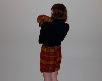 Red/Orange Plaid School Girl Skirt
