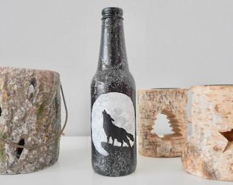 hand-painted bottle howling wolf full moon bottle black white decor decoration handmade home decor art artwork on beer bottle