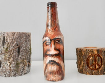 Hand painted bottle old man beard mustache fantasy art on bottles old man forest spirit inspired unique home decorative gifts