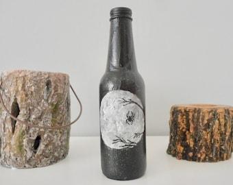 hand-painted bottle black spider branche full moon bottle black white decor scary decoration handmade home decor art artwork on beer bottle