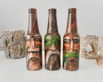 Hear no evil, see no evil, speak no evil hand painted bottles original art artwork old men by Aparticle home decor decorations fantasy art