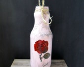 Hand painted pink bottle / red rose / flea bottle / home decor / flowers / upcycled art / gallery / Mother's Day Gift