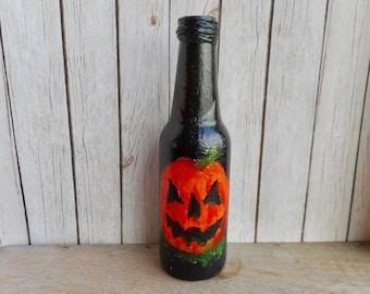 Halloween pumpkin hand painted beer bottle fine art on bottles jack o lantern orange black bottle acrylic artwork home terrace decoration
