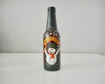 """Christmas decoration snowman hand painted bottle christmas greeting decor """"Merry Christmas"""" acrylic art home decoration unique handmade gift"""