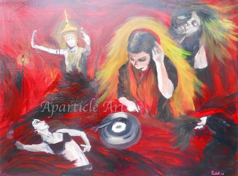 Original painting acrylic DJ music collage Rockstar image 0