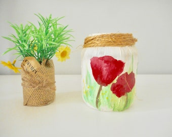 Colorful flowery hand painted jar spring and summer flowers house terrace garden floral decoration art on pots poppy daffodil Tree of Life