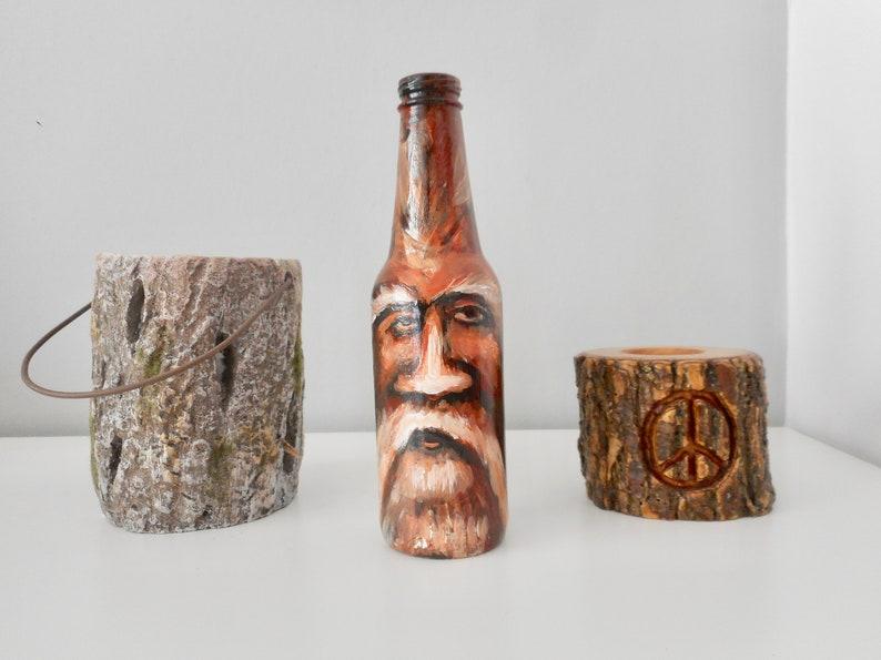 Hand painted bottle old man beard mustache fantasy art on image 0