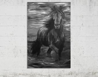 Original acrylic painting large black white horse on canvas huge artwork trotting horse wall art unique handmade monochrome