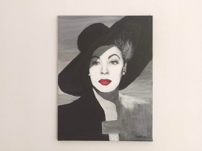 Original acrylic painting Mysterious lady with hat Black and image 0