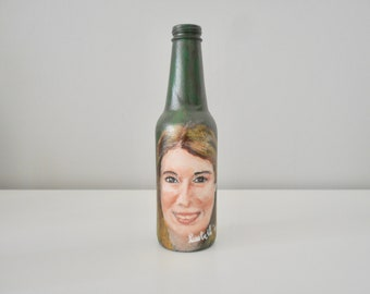 Custom made portrait hand painted bottle personalized acrylic art on glass home furnishings unique original gift artwork
