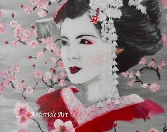 Geisha artwork with Japanese Sakura cherry blossom oriental lady art wall art fine gray home decor decor decoration original acrylic canvas