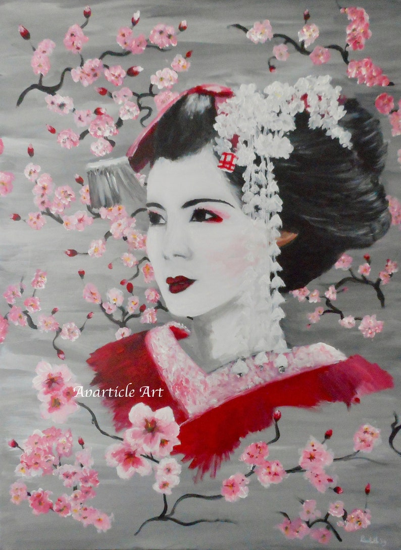 Geisha artwork with Japanese Sakura cherry blossom oriental image 0