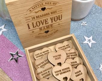 10 Reasons Why I Love You Bamboo Box & Hearts - Personalised Christmas, Birthday or Anniversary Gift Boyfriend Girlfriend Wife Husband