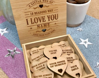10 Reasons Why I Love You Bamboo Box and Personalised Hearts -  Birthday or Anniversary Gift for Boyfriend Girlfriend Wife Husband Partner