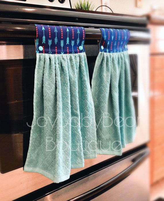 Hanging Kitchen Towels Aqua And Blue Kitchen Towel Decorative Oven Towel Housewarming Gift Teacher Gift Wedding Gift Arrows