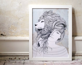 Lioness, digital print A3
