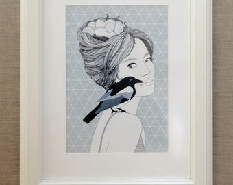 Bird Lady, Digital Print A4