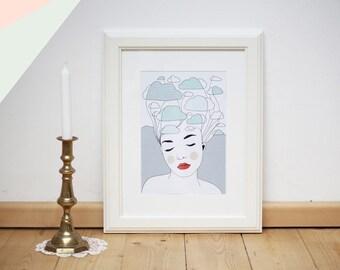 Cloud Woman, Digital Print DIN A4