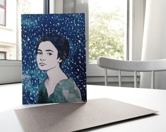 Snow girl, folding card with envelope