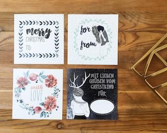 Gift sticker, Christmas set (4 pieces)