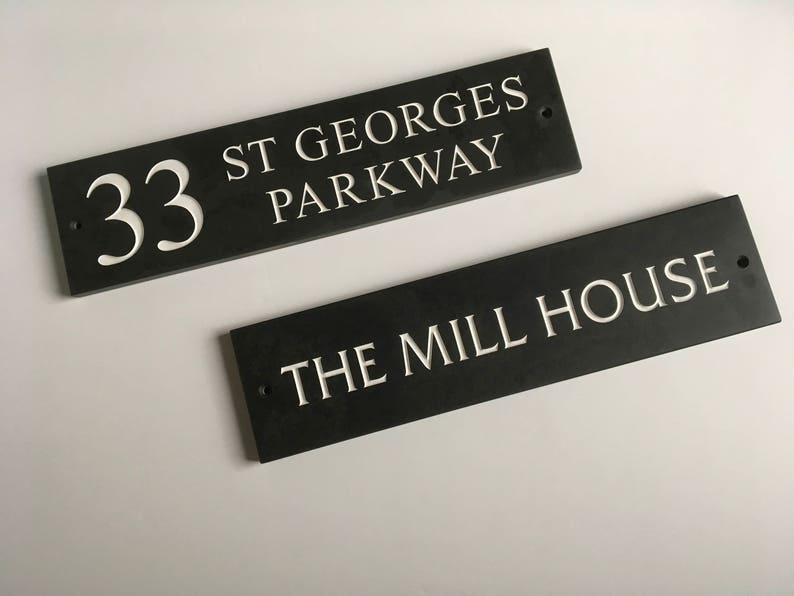 Solid Slate House Name/Number Sign Door, Gate or Wall 400mm X 100mm with  Fixings