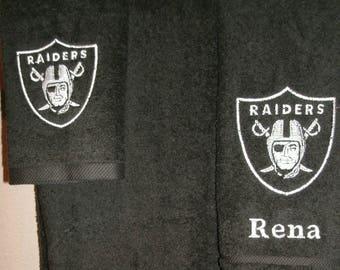 Raiders Personalized Raiders 3 piece Bath towel, hand towel & Washcloth Set Football ANY TEAM