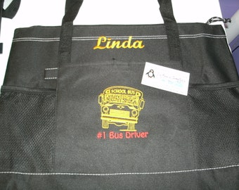 School Bus Sketch Personalized Tote Bag Great School Bus Driver Gift