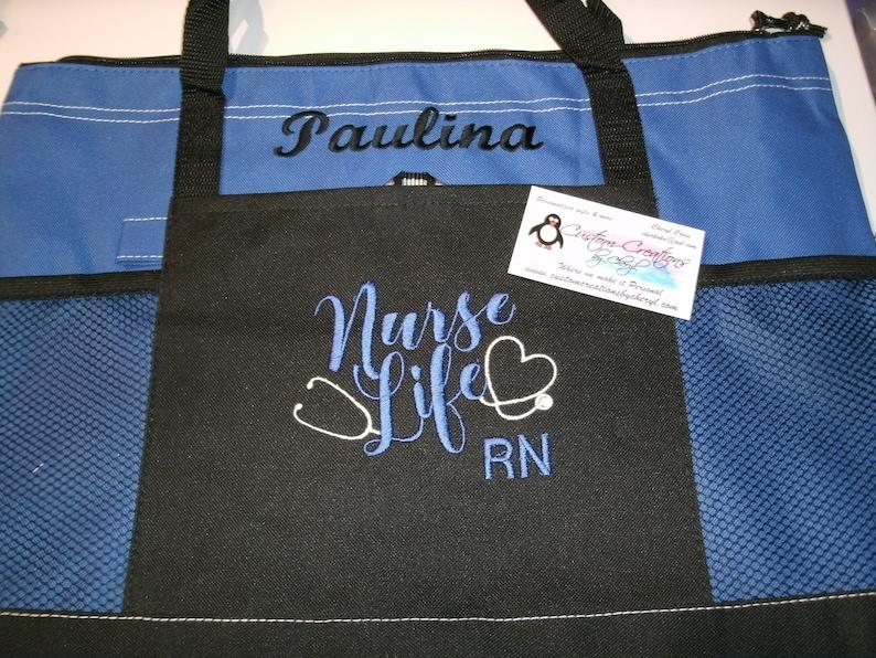 Great Nursing Gift Idea !! Nurse Life Personalized  Nurse Personalized Tote Bag  RN CNA Personalized Tote bag .. LPN