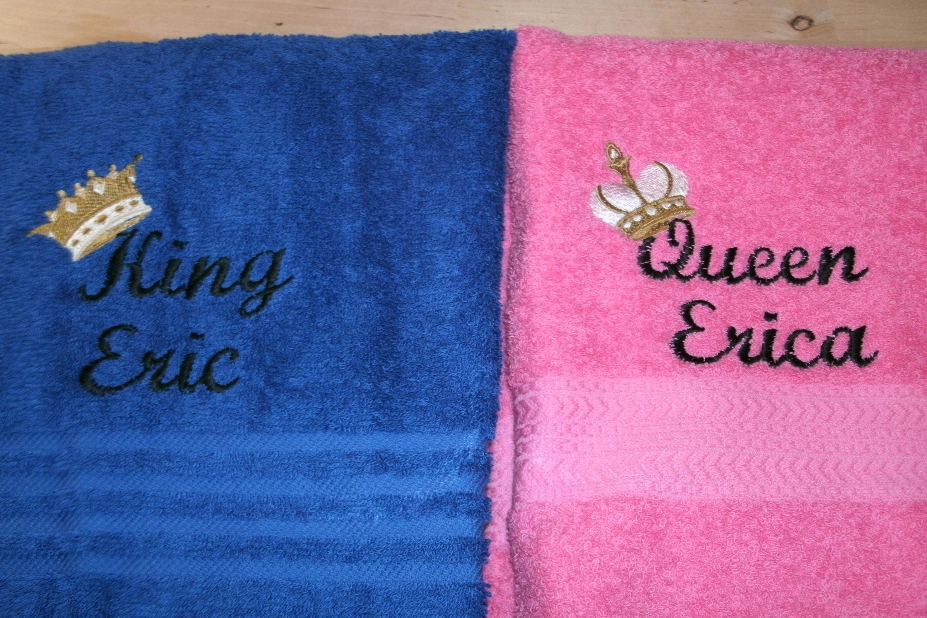 King and Queen Personalized His Hers Bath Towels Wedding Set