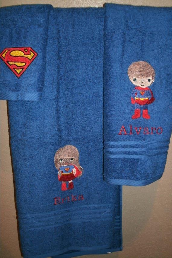 Supergirl Logo Personalized 3 Piece Bath Towel Set Superhero Towels