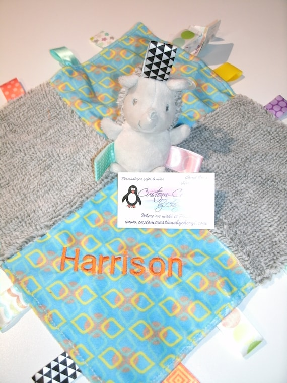 Baby Girls Personalised Taggy Security Blanket Jungle Animals
