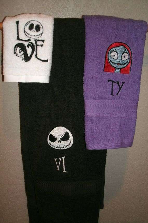 Jack /& Sally His Hers Nightmare  Personalized His Hers Towel Set  Any Color