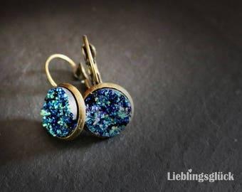 Earrings Bronze with crystal optics
