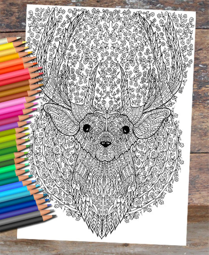 Floral Deer Colouring Page image 0