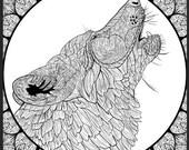 Wolf Mandala Detailed Col...