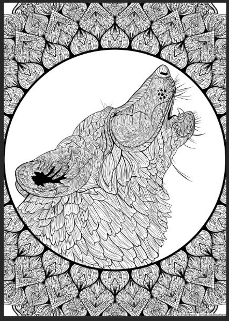 Wolf Mandala Detailed Colouring Page image 0