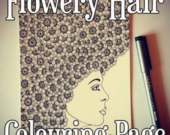 Flowery Hair Detailed Colouring Page