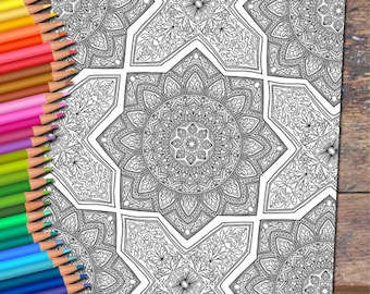 Islamic Tile Detailed Colouring Page