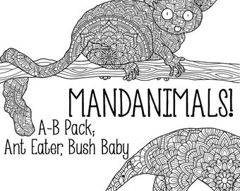 Mandanimals Colouring Pages - Ant Eater, Bush Baby