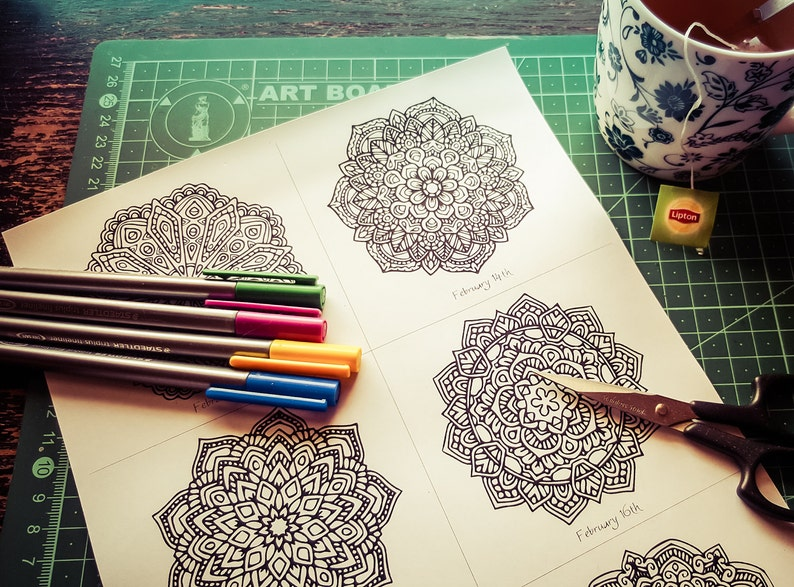 February Mandala-A-Day Colouring Pack image 0