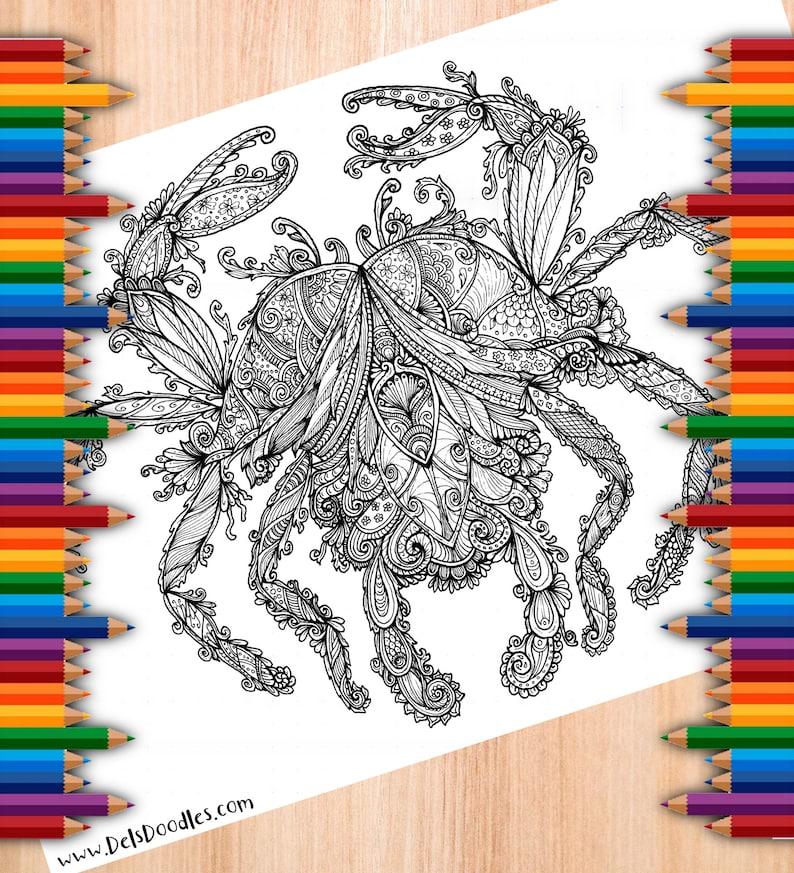 Crab Tangle Digital Colouring Page image 0