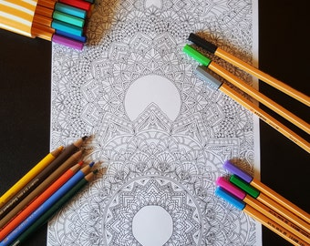 Mandalas Detailed Colouring Page - Digital Download