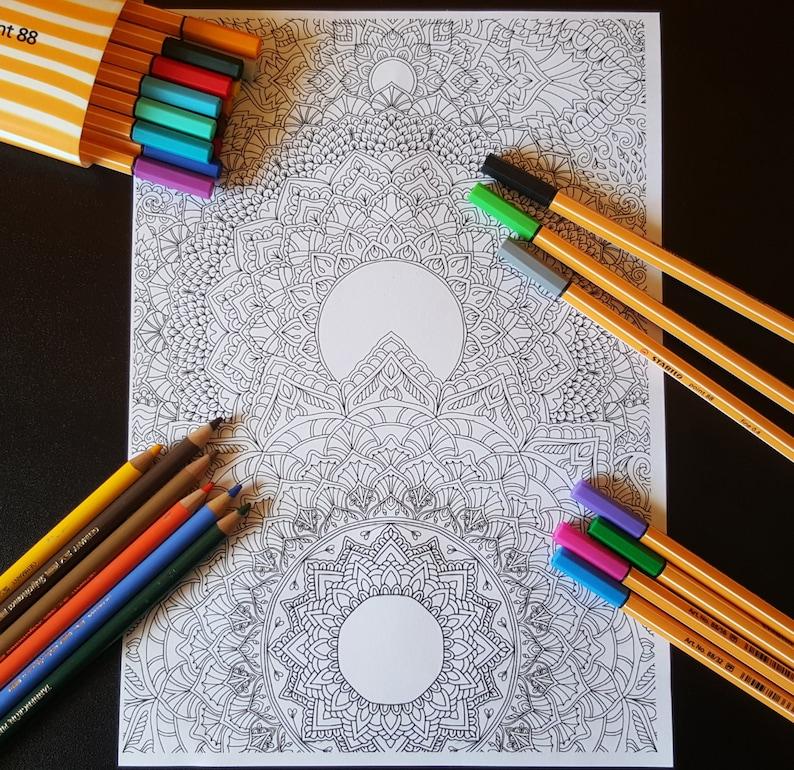Mandalas Detailed Colouring Page  Digital Download image 0