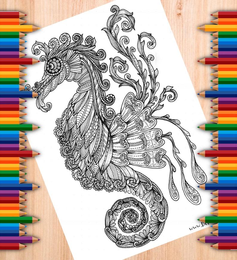 Searhorse Tangle Digital Colouring Page image 0