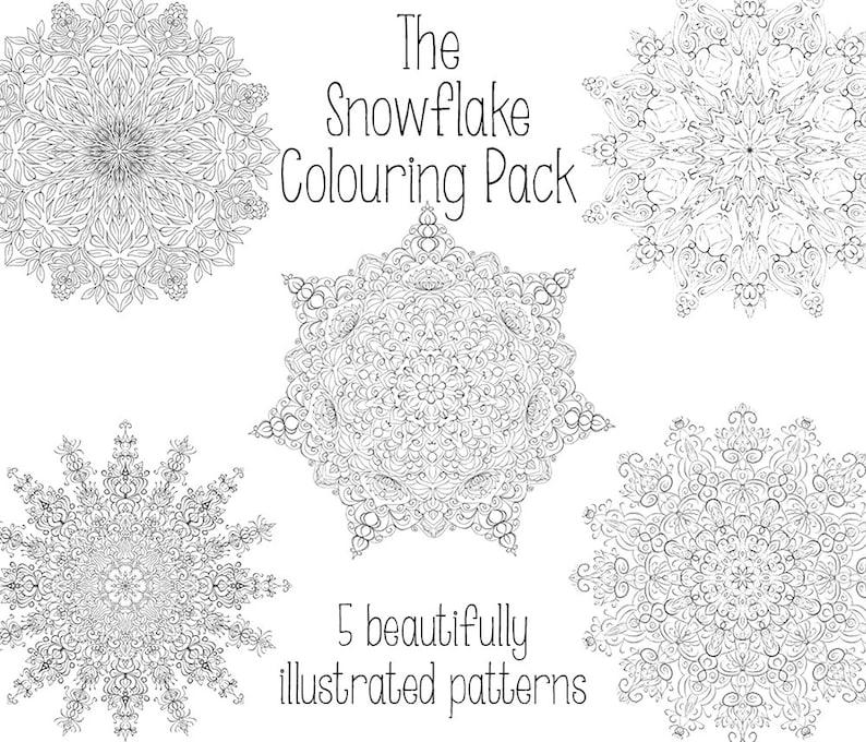 Snowflake Colouring Pack  Digital Download image 0