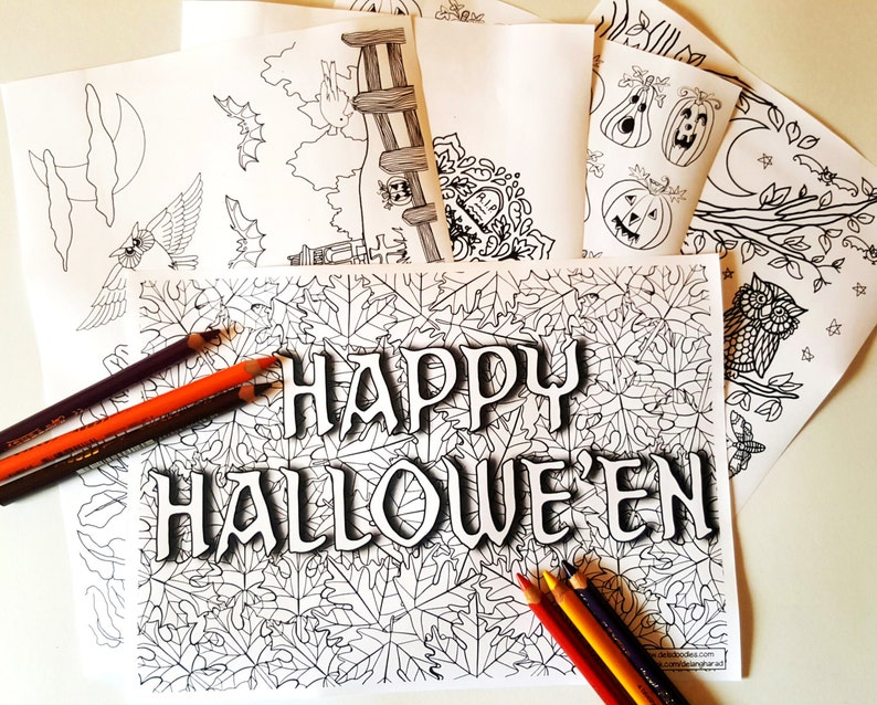 Hallowe'en Digital Colouring Pack image 0