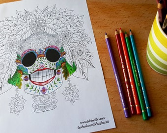 Floral Sugar Skull Colouring Page