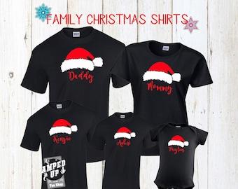 family christmas shirts christmas shirts santa hat shirts personalized christmas shirts santa shirts matching christmas shirts