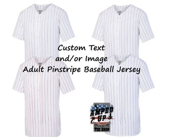 df04990a0 Custom Adult Unisex Pinstripe Baseball Jersey